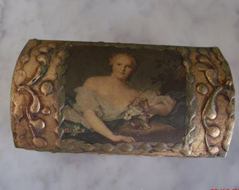 Vintage Italian Florentine Box Romantic Portrait Domed Jewelry Box