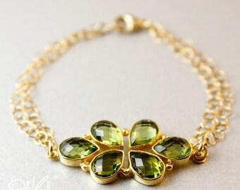 CHRISTMAS SALE Gold Green Peridot Bracelet - Peridot Quartz - Floral Bracelet