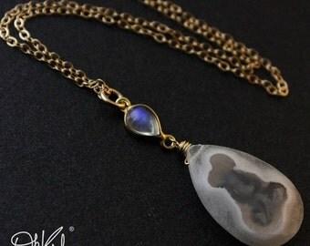 CHRISTMAS SALE Solar Quartz Rainbow Moonstone Necklace - Blue Flash Moonstone - 14kt Gold Fill