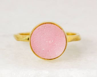 Pink Druzy Ring - Silver or Gold - Stackable Rings