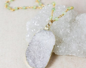 50% OFF Natural White Druzy Necklace – Green Peridot or Green Chrysoprase Chain