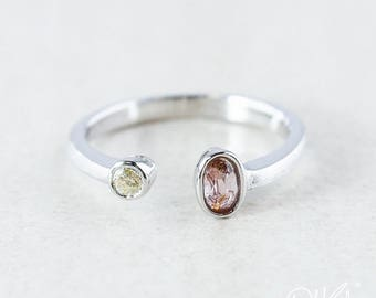 ON SALE Pink Tourmaline & Champagne Diamond Dual Ring - Adjustable Ring