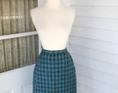 50% OFF BLACK FRIDAY Sale Wool Pencil Skirt - Turquoise and Gray Plaid - Vintage 1950s 50s