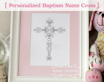 Personalized Baptism Name Cross print ORIGINAL  - 5x7 - FREE SHIPPING