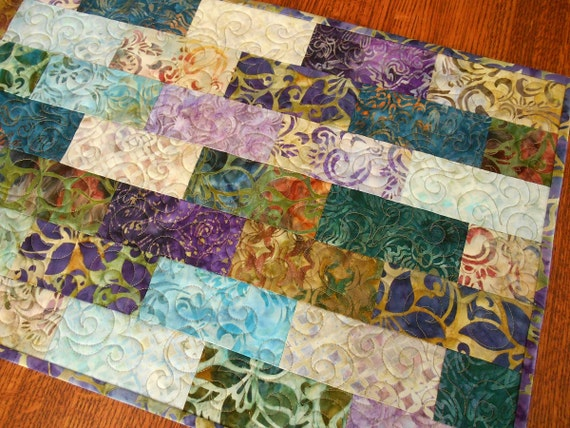 Quilted Batik Table Runner in Purple Teal Aqua and Brown, Batik Quilted Table Topper, Batik Table Mat, Quilt for Table Top, Quiltsy Handmade