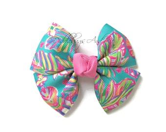Pink and Teal Pinwheel Bow, Girl's Tropical Hair Bow, Hair Bows For Girls, Nautical Bows, Bows For Toddlers, Beach Bows, Pinwheel Bows