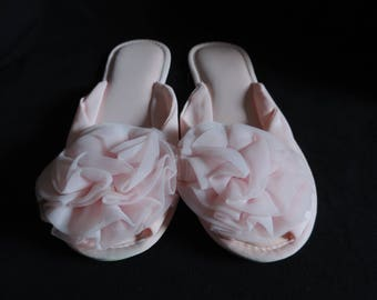 pink pom pom slippers 60s floral poof scuffs house shoes size 7 or 7 1/2