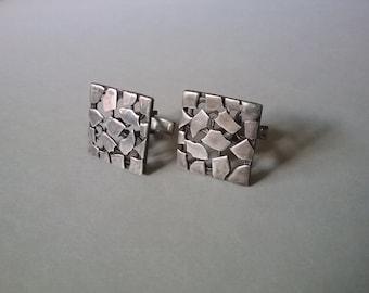 Brutalist Modernist Silver Cufflinks Artisanal  Men Fashion Vintgae