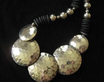 1980's Hammered Concho Southwestern Style Necklace