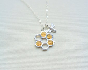 Honeycomb Bee Necklace, Beehive Pendant, Honey Autumn Jewelry, Mothers Necklace, Silver Necklace, Gift For Her