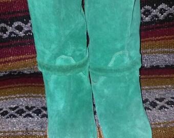 Vintage 80s Suede Boot Green size 8 regular