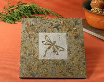 Slate Trivet / Hot Plate - Dragonfly Sandcarved on Copper Slate