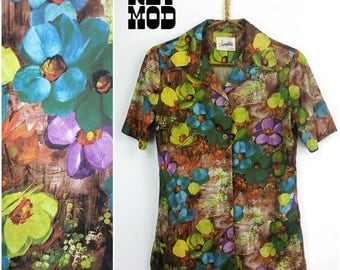 Funky Vintage 70s Green, Purple and Brown Floral Men's Button Down Shirt by Hamilton 8!