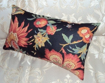 FREE SHIPPING 15x8 Black Red Cotton Floral Lumbar Pillow