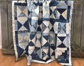 "Throw Quilt Snowbird HANDMADE Patchwork Quilt Laundry Basket Quilts Moda Blue Navy Cream 68x78"""