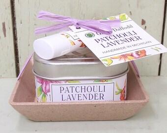 Patchouli Lavender Candle & Lip Dish Kit-  Green Daffodil