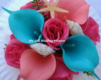 Wedding Cake Topper, Coral, Turquoise, Beach, Seashell, Accent, Silk Orchid, Coral Roses, Real Touch Calla Lily
