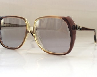 80s Vintage Small German Clear Berry Square Frame Sunglasses Small Head Size