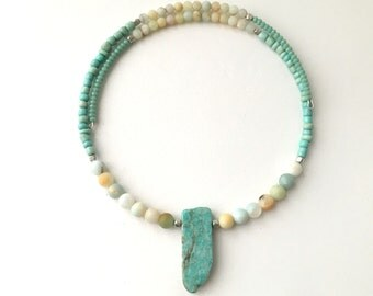 New! - choker, beaded, modern, amazonite choker necklace