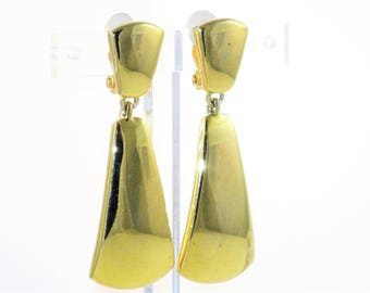 Vintage Anne Klein Gold Tone Dangling Long Clip Earrings (E-1-7)
