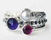 Mothers Ring 3 Birthstone Stacking Rings - Family Ring - Grandmothers Ring - Stackable Rings - Cabochons - Sterling Silver