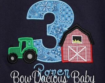 Farm Birthday Shirt, Barn Birthday Shirt, Tractor Birthday Shirt, Boys Birthday Shirt, Custom Fabrics and Colors, Any Age
