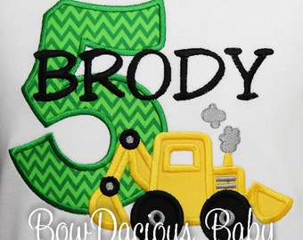 Boys Digger Birthday Shirt, Backhoe Birthday Shirt or Bodysuit, Front Loader Birthday Shirt, Custom Construction Birthday Party Shirt