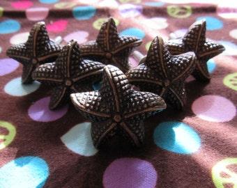 Set of 6 Small Bronze Starfish Drawer Pulls/Knobs
