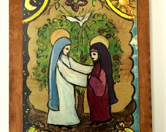 Religious Christian gift catholic gift saint Mary blessed mother Elizabeth rosary gift rustic home decor retablo nativity