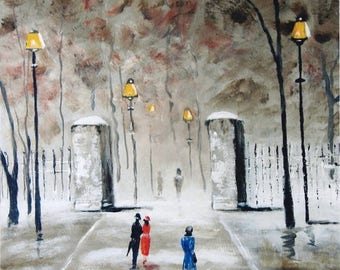 Stroll To The Park - Landscape painting on canvas