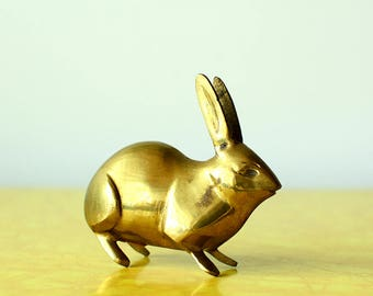 Vintage Brass Rabbit Figurine Small Vintage Animal Retro Decor