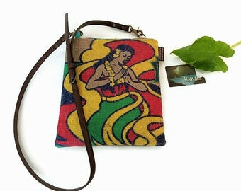 MTO. New Hula Girl Kauai Coffee Bag. Burlap Cross-body Bag and Mini-Messenger Purse. Repurposed Coffee Bag. Handmade in Hawaii.