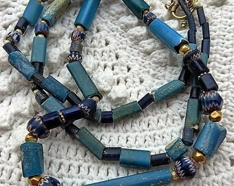 Ancient Treasure Necklace, 550 years old beads - Ancient Nueva Cadiz and ancient 7 Layer Venetian Chevron beads,  22 K solid gold
