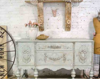 Painted Cottage Chic Shabby White Romantic French Buffet / Server SV630