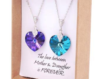 Philberta - Swarovski Bermuda Blue Heart Crystal Necklace, Cubic Zirconia bail Necklace, Something blue Bridal Bridesmaid Jewelry