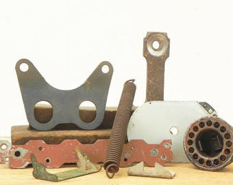 8 salvaged metal plates found objects for your assemblage Steampunk project