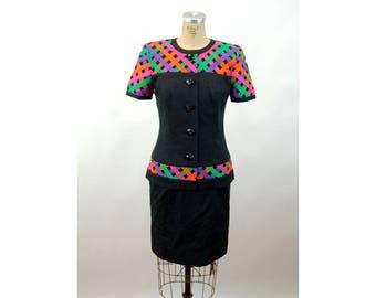 1980s suit skirt suit black multicolored fitted suit neon Size S/M David Warren