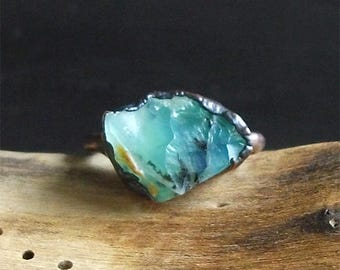 Opal Ring Raw Opal October Birthstone Copper Gemstone Ring Size 6.5 Blue Andean Opal Jewelry Midwest Alchemy