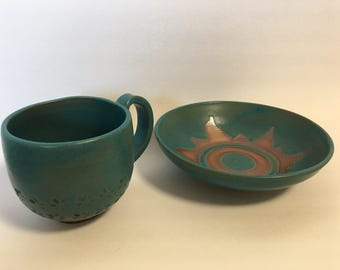 Turquoise Coffee Cup and Saucer