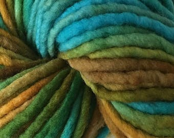 Bulky / Chunky Weight Hand Painted Wool Yarn Pencil Roving in Clock Works 60 yards Hand Dyed