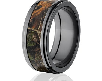 new black zirconium 9mm realtree xtra licensed realtree camo ring camo wedding ring black zirconium realtree - Realtree Wedding Rings