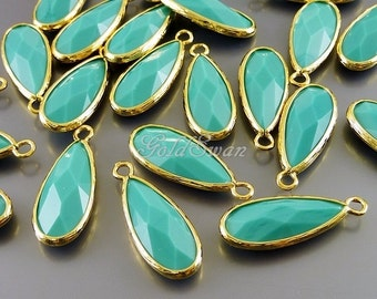 2 pcs opaque blue-green turquoise colored glass stone pendants, long drop glass charms 5131G-TU turquoise