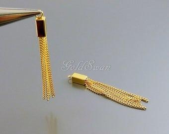 2 SHINY gold brass metal chain tassels, long gold plated brass chain tassels, multiple chain tassel earrings 2099-BG