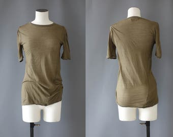 Isabel Marant kaki sheer cotton t-shirt   1990's by cubevintage   small