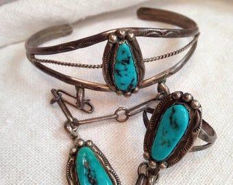 Native American Sterling Silver Slave Bracelet Turquoise