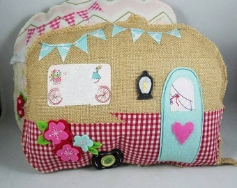 Vintage Happy Camper Shaped accent pillow
