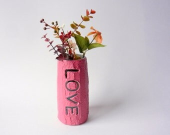 Raspberry pink love Vase / valentine Home Decor / Concrete and Glass Vase / love gift