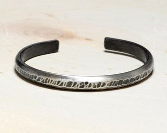 Rustic Hammered Sleek Sterling Silver Half Round Bracelet with Brushed Patina – Solid 925 Rustic Silver Cuff Bracelet BR5712