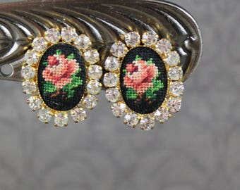 Vintage Oval Pink, Green and Black Rose Flower Embroidered Petit Point Gold Rhinestone Clip On Earrings