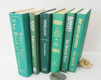 Bright Green Books for Decor - Vintage Book Stack - Instant Library - Bookshelf Decoration